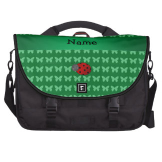 Personalized name ladybug green butterflies commuter bag