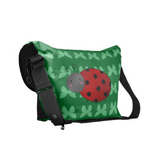 Personalized name ladybug green butterflies messenger bags