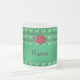 Personalized name ladybug green butterflies mug