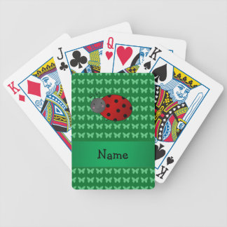 Personalized name ladybug green butterflies poker deck
