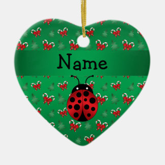 Personalized name ladybug green candy canes bows christmas ornament