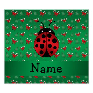 Personalized name ladybug green candy canes bows print