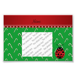 Personalized name ladybug green candy canes photograph