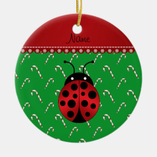 Personalized name ladybug green candy canes round ceramic decoration