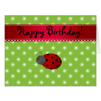 Personalized name ladybug green flowers large greeting card