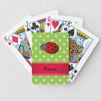 Personalized name ladybug green flowers card deck