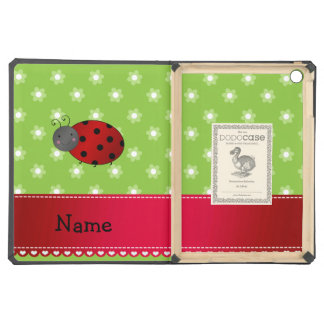 Personalized name ladybug green flowers case for iPad air