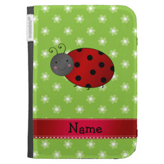Personalized name ladybug green flowers kindle 3 covers