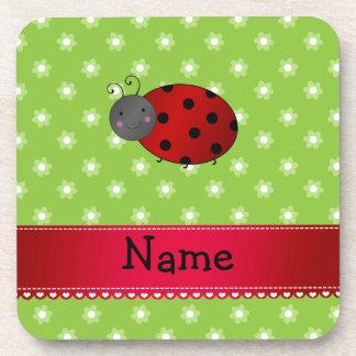 Personalized name ladybug green flowers coasters