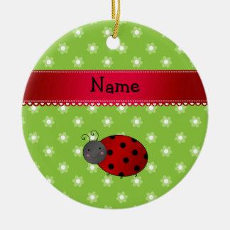 Personalized name ladybug green flowers christmas tree ornaments