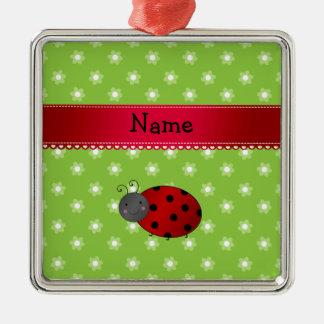 Personalized name ladybug green flowers christmas tree ornament