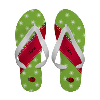 Personalized name ladybug green flowers sandals