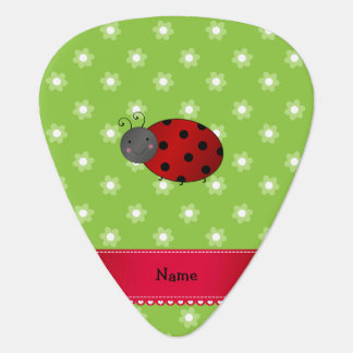 Personalized name ladybug green flowers guitar pick