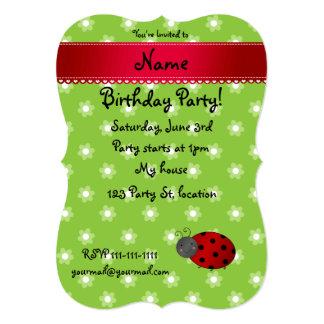 Personalized name ladybug green flowers invite