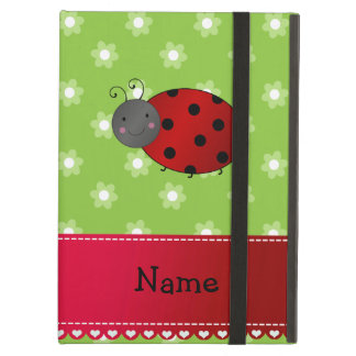 Personalized name ladybug green flowers iPad air covers