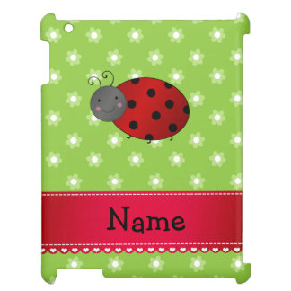 Personalized name ladybug green flowers iPad covers