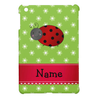 Personalized name ladybug green flowers case for the iPad mini