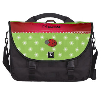 Personalized name ladybug green flowers commuter bags