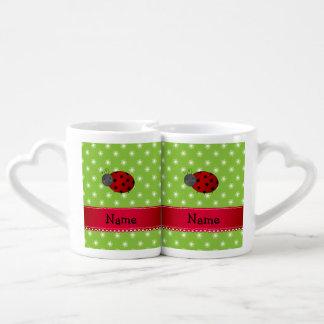Personalized name ladybug green flowers couples' coffee mug set
