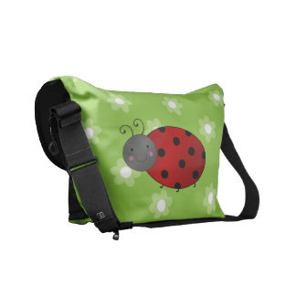 Personalized name ladybug green flowers messenger bags