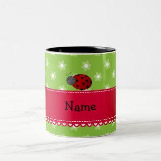 Personalized name ladybug green flowers coffee mugs