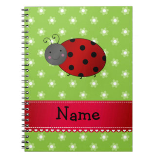 Personalized name ladybug green flowers notebook