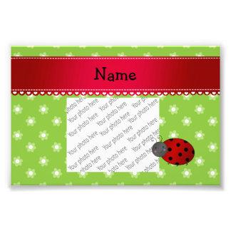 Personalized name ladybug green flowers photo art