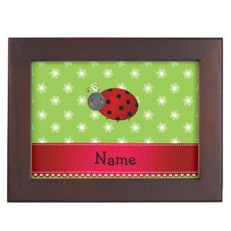 Personalized name ladybug green flowers keepsake box