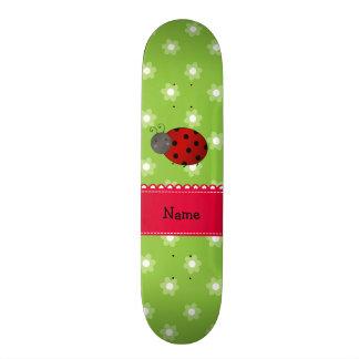 Personalized name ladybug green flowers skate decks