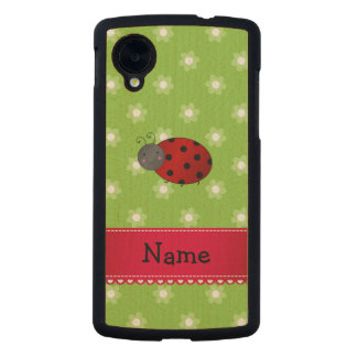 Personalized name ladybug green flowers carved® maple nexus 5 case