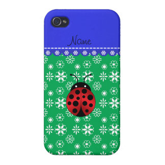 Personalized name ladybug green snowflakes iPhone 4/4S cover