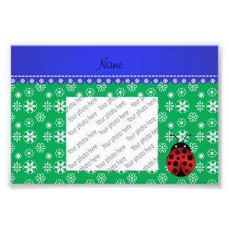Personalized name ladybug green snowflakes photograph