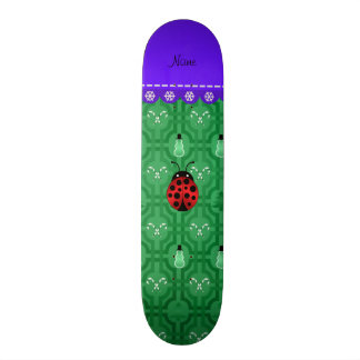 Personalized name ladybug green snowmen skate boards