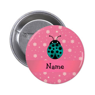 Personalized name ladybug light pink snowflakes 6 cm round badge