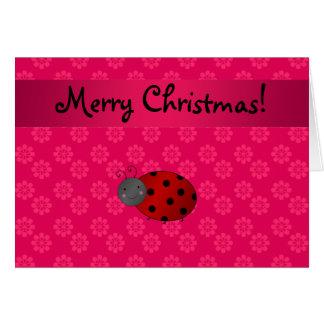 Personalized name ladybug pink flowers greeting card