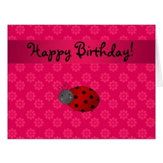 Personalized name ladybug pink flowers large greeting card