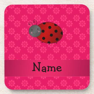 Personalized name ladybug pink flowers coasters