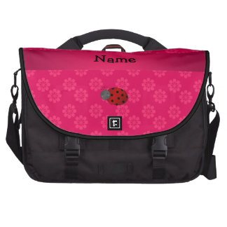 Personalized name ladybug pink flowers laptop bags