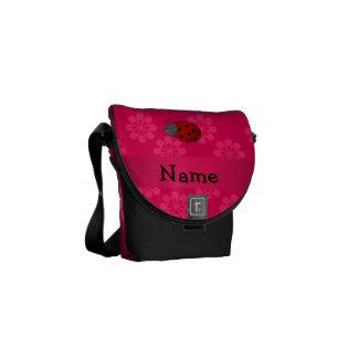 Personalized name ladybug pink flowers messenger bag