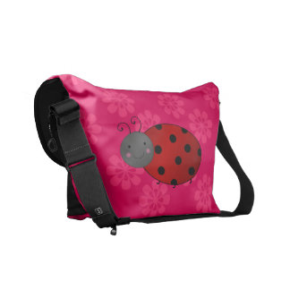 Personalized name ladybug pink flowers courier bags