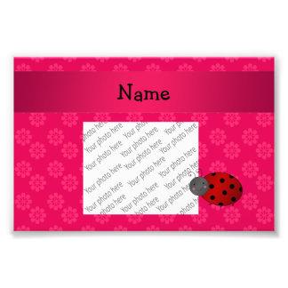 Personalized name ladybug pink flowers photographic print