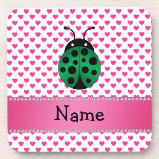 Personalized name ladybug pink hearts polka dots beverage coasters
