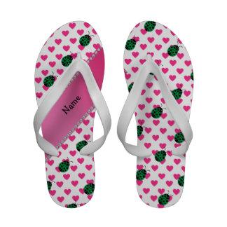 Personalized name ladybug pink hearts polka dots sandals