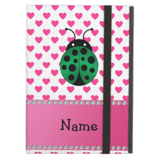Personalized name ladybug pink hearts polka dots iPad cases