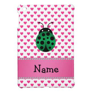 Personalized name ladybug pink hearts polka dots iPad mini cover