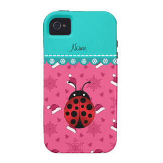 Personalized name ladybug pink santa hats iPhone 4/4S covers