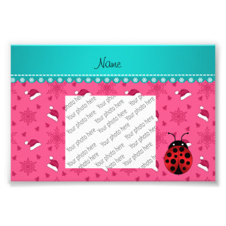 Personalized name ladybug pink santa hats photo