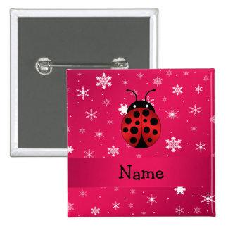 Personalized name ladybug pink snowflakes 15 cm square badge