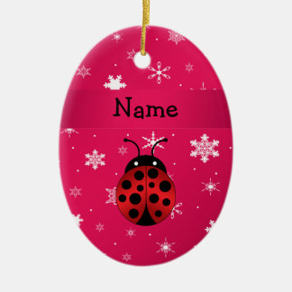 Personalized name ladybug pink snowflakes ceramic oval decoration
