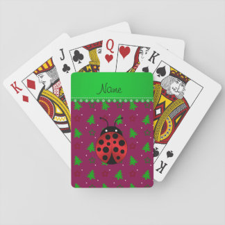 Personalized name ladybug plum trees stars playing cards